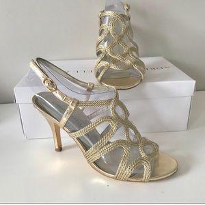 Adrianna Papell platino metallic gold rope heels 7